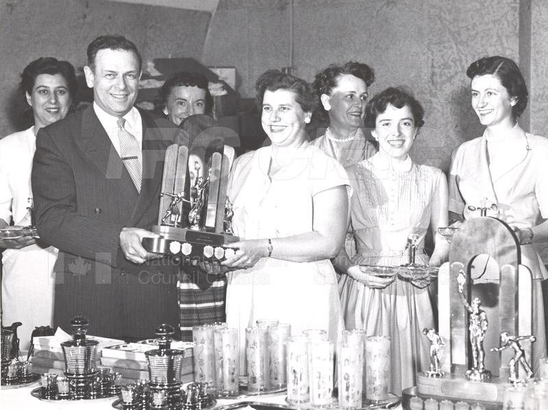 Dr. Rosser Presents Bowling Trophy c.1950