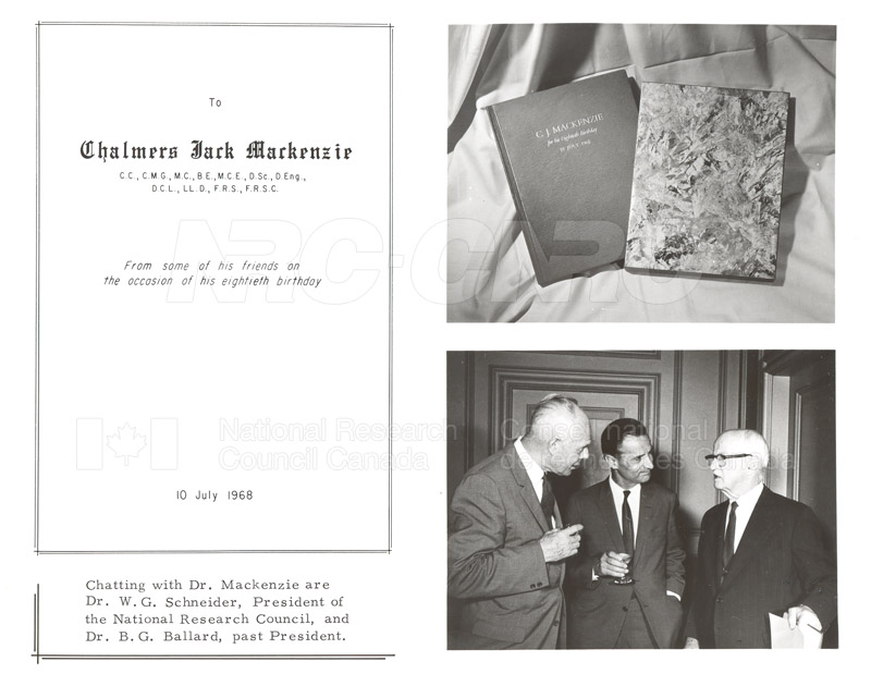 Presentation to C.J. MacKenzie (80th Birthday) 1968 002