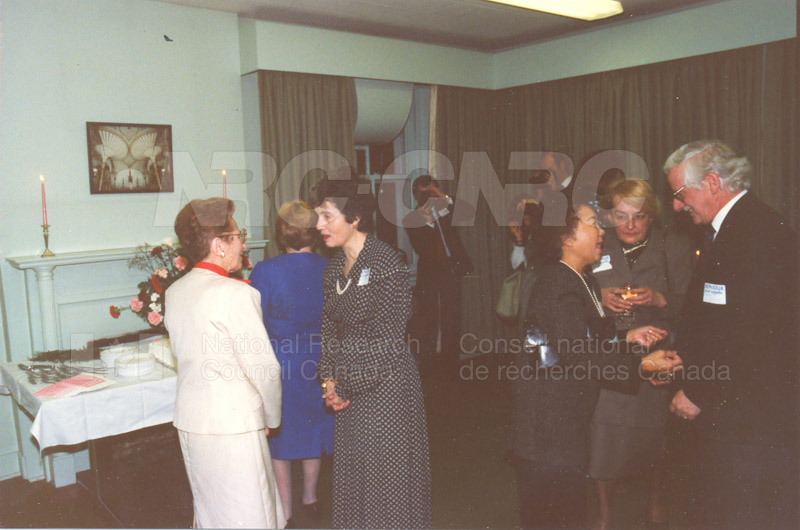 NRC Women's Club Fortieth Anniversary Reception Mrs. Magda Jones, Mde Kerwin, Mme. Gingras, B.A. Gringras Stone House 1988