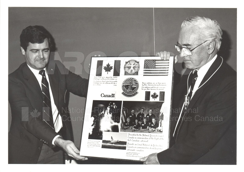 Dr. Kerwin with First Canadian Astronaut Photo Commemoration 1984 001