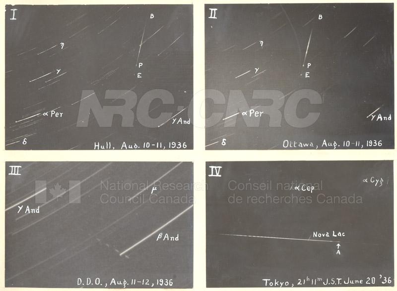 Meteors- Hull Aug. 10-11 1936, Ottawa Aug. 10-11 1936, D.D.O. Aug. 11-12 1936, Tokyo June 20 1936